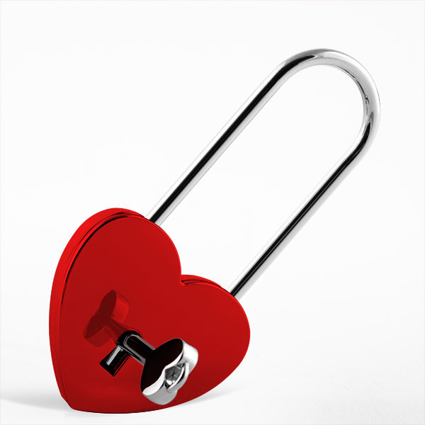 Large heart-shaped love lock red